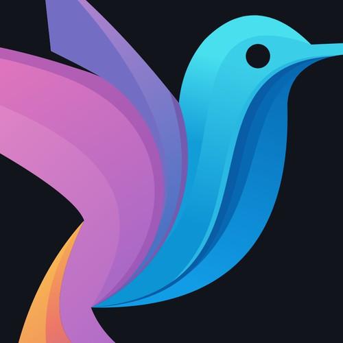 kafene logo design conceptual of colibri color