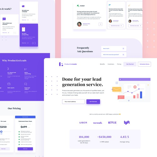 Productized business landing page