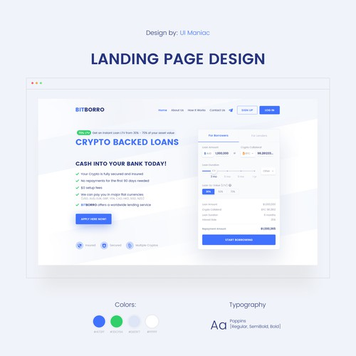 Crypto-Backed Loans landing page