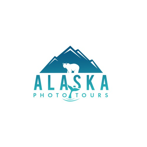 Logo concept for a photo tour that sells Alaska