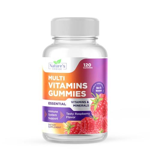 Multi Vitamins Gummies Label Design