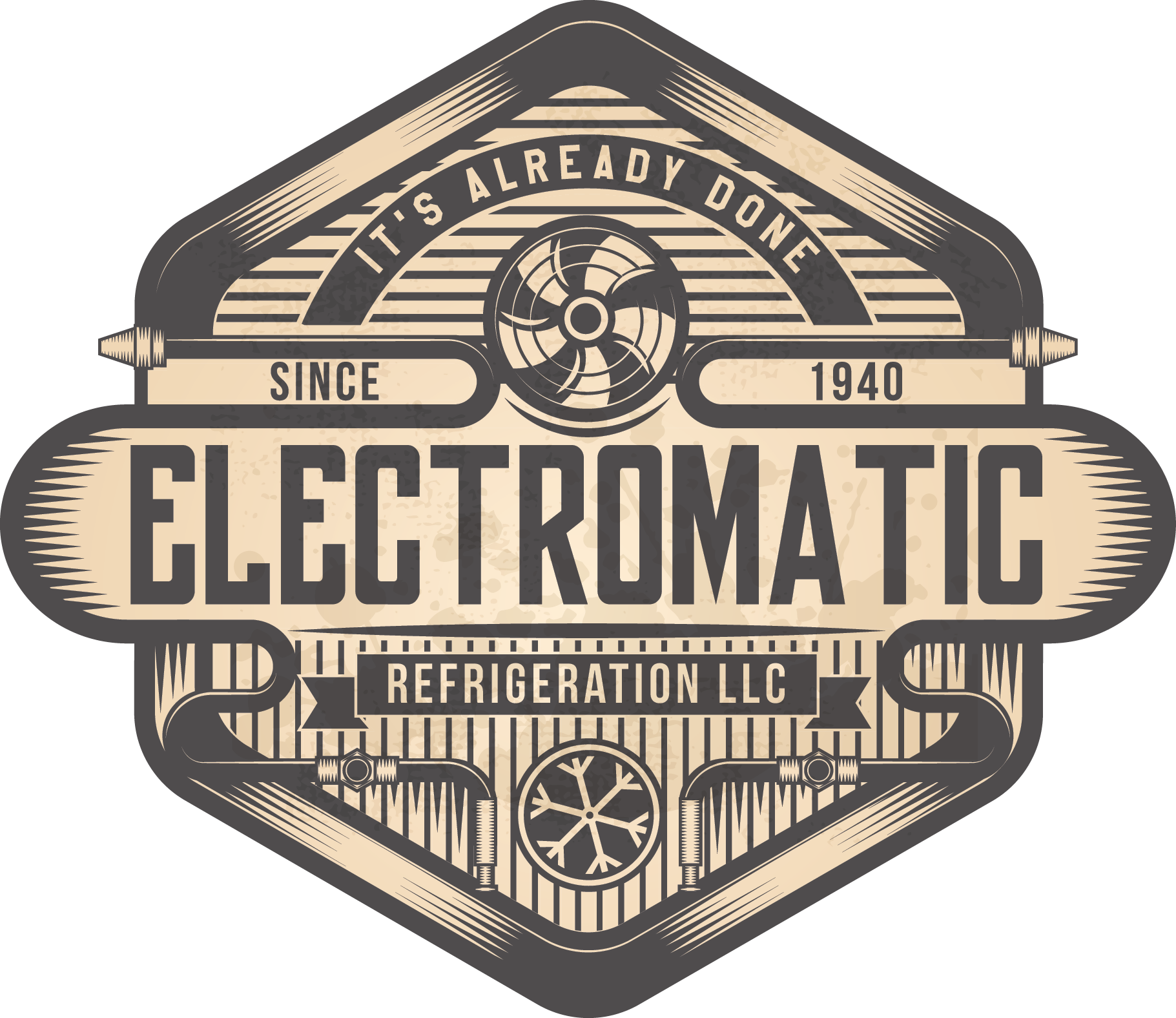 Create a vintage logo for the oldest refrigeration company in Seattle.