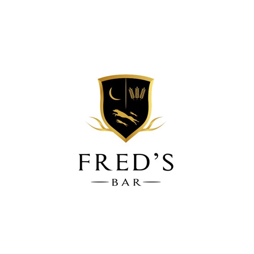 Clean and minimalist logo design concept for Fred's Bar