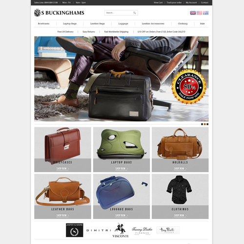 Re-design homepage for leather bags retailer