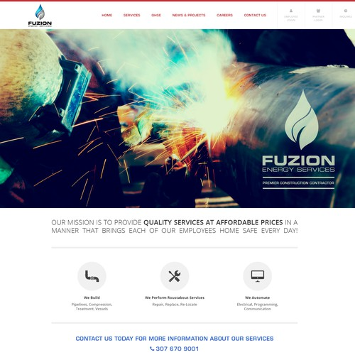 Create a captivating website for Fuzion Energy Company