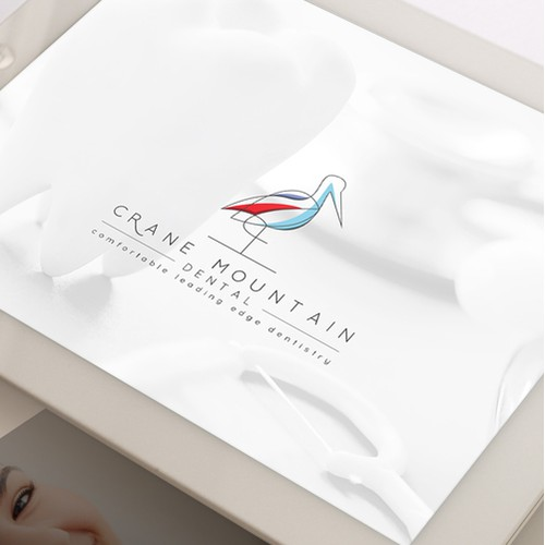 Crane logo concept for dental clinic