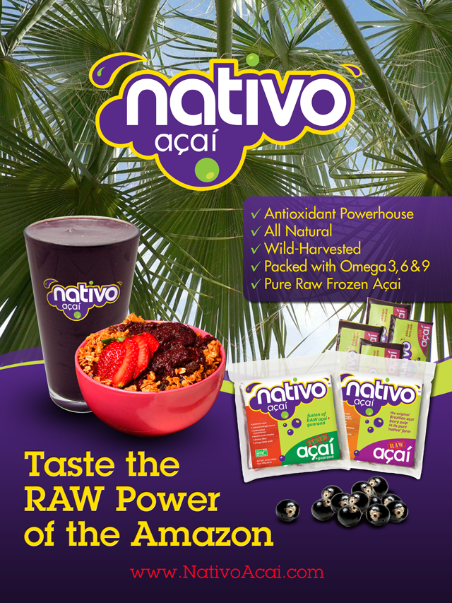 Create the next print or packaging design for Nativo Amazon Acai Company