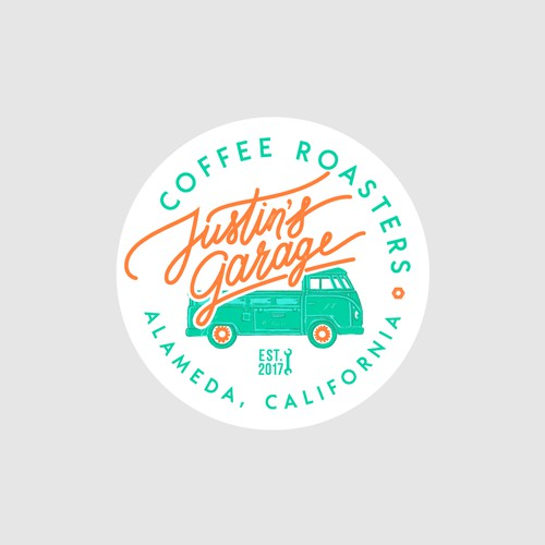 Logo concept for an amazing coffee roasters company from Alameda, California. With their beautiful 1962 Volkswagen single cab truck illustration in it!