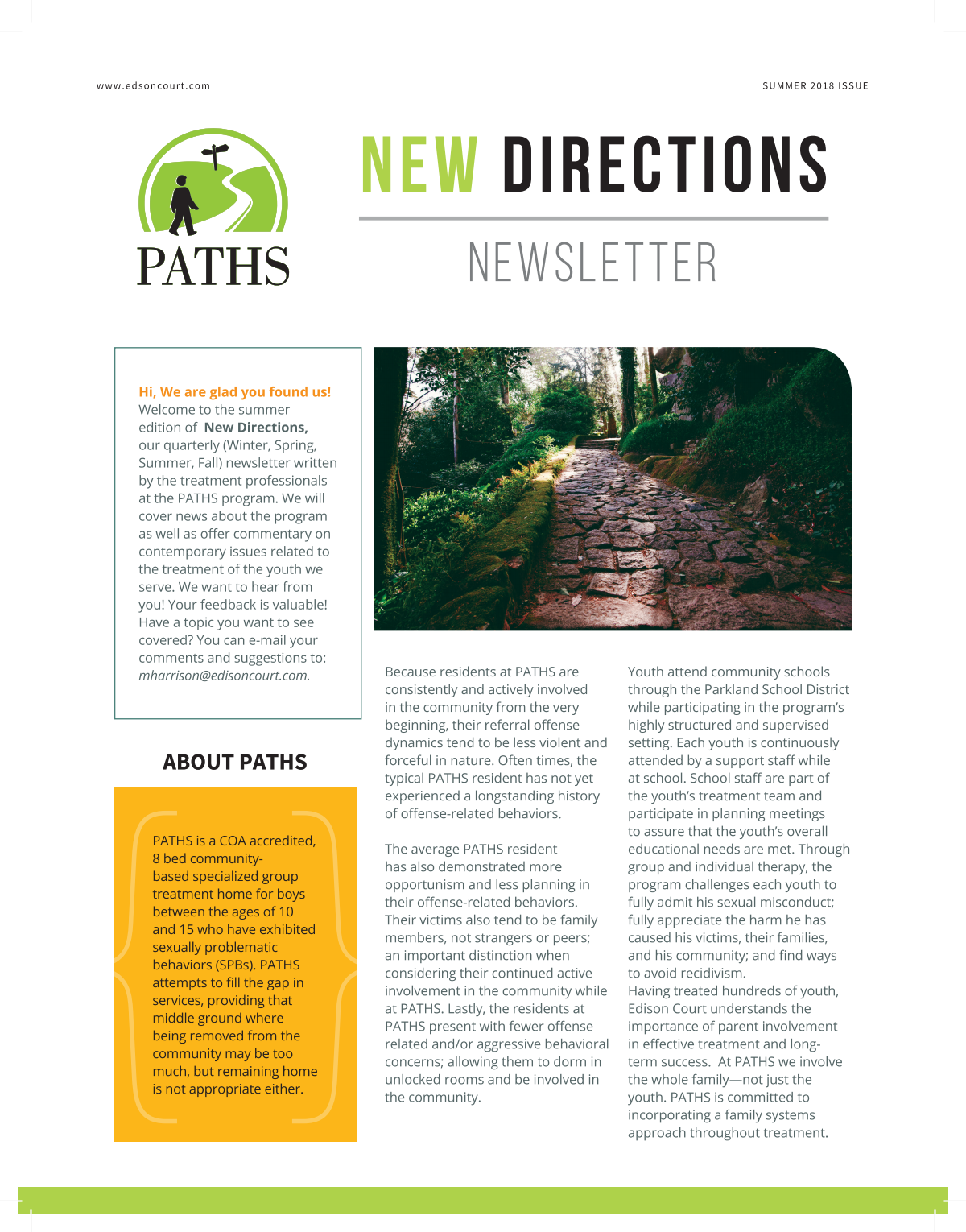New DIrections Newsletter- Summer edition