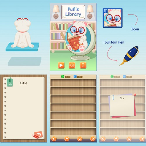 Create a design for Pufi, the bear that loves to read books