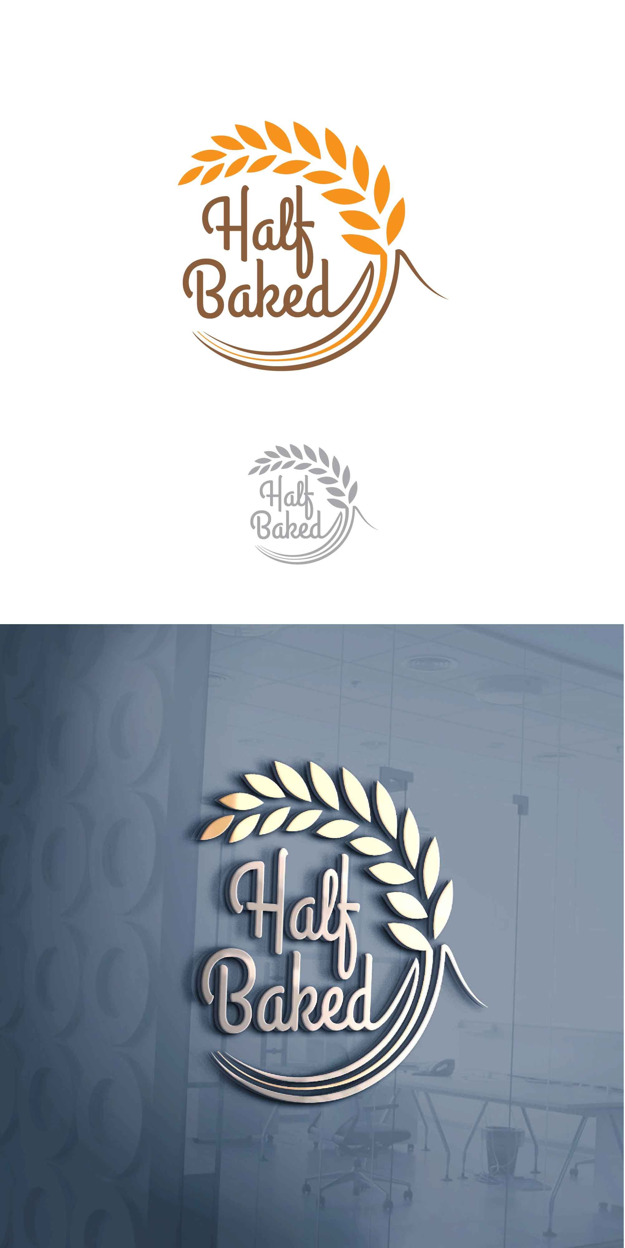 Logo design:Half Baked, a youthful aesthetic cafe with a space to inspire spontaneity and excitement