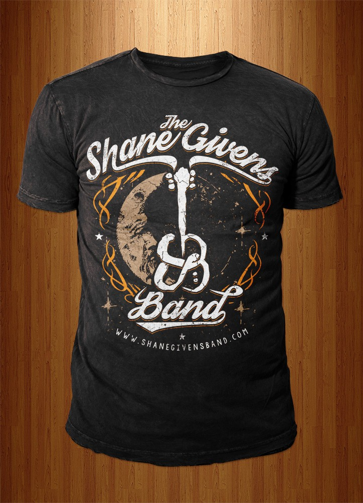 create a t-shirt design for an emerging country rock/southern rock band