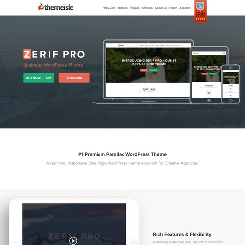 Sales page design concept for zerif pro premium wordpress theme