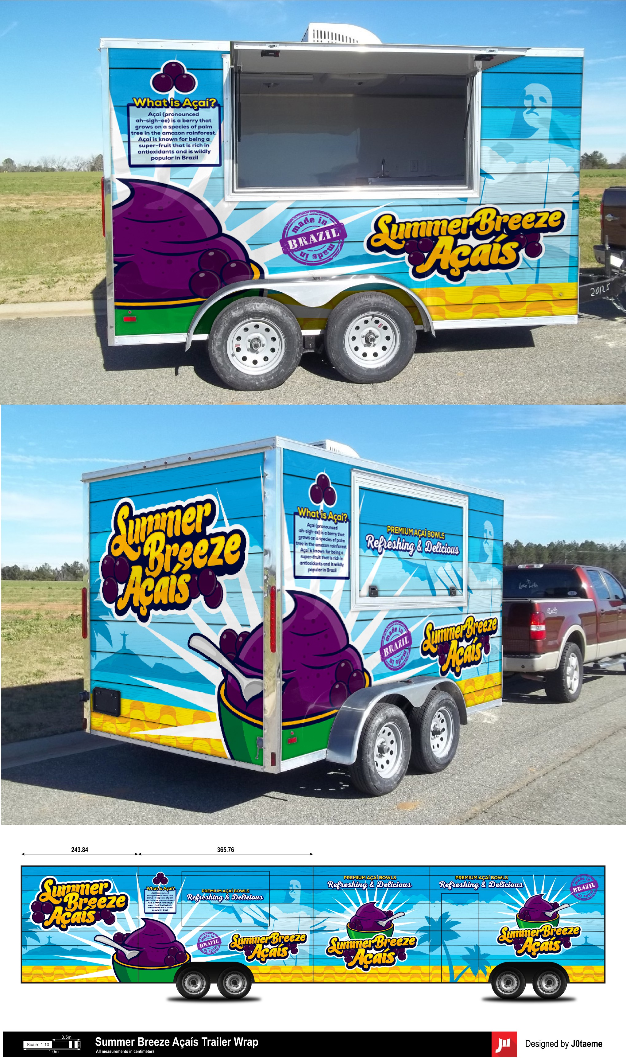 Design a vinyl wrap for an Açaí food trailer