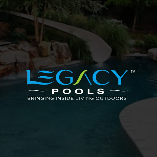 Modern Luxurious Custom Pools and Landscape exterior design company Logo