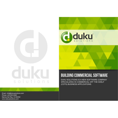 Produce a clean, informative, easy to read and well branded Product Brief for Duku Solutions