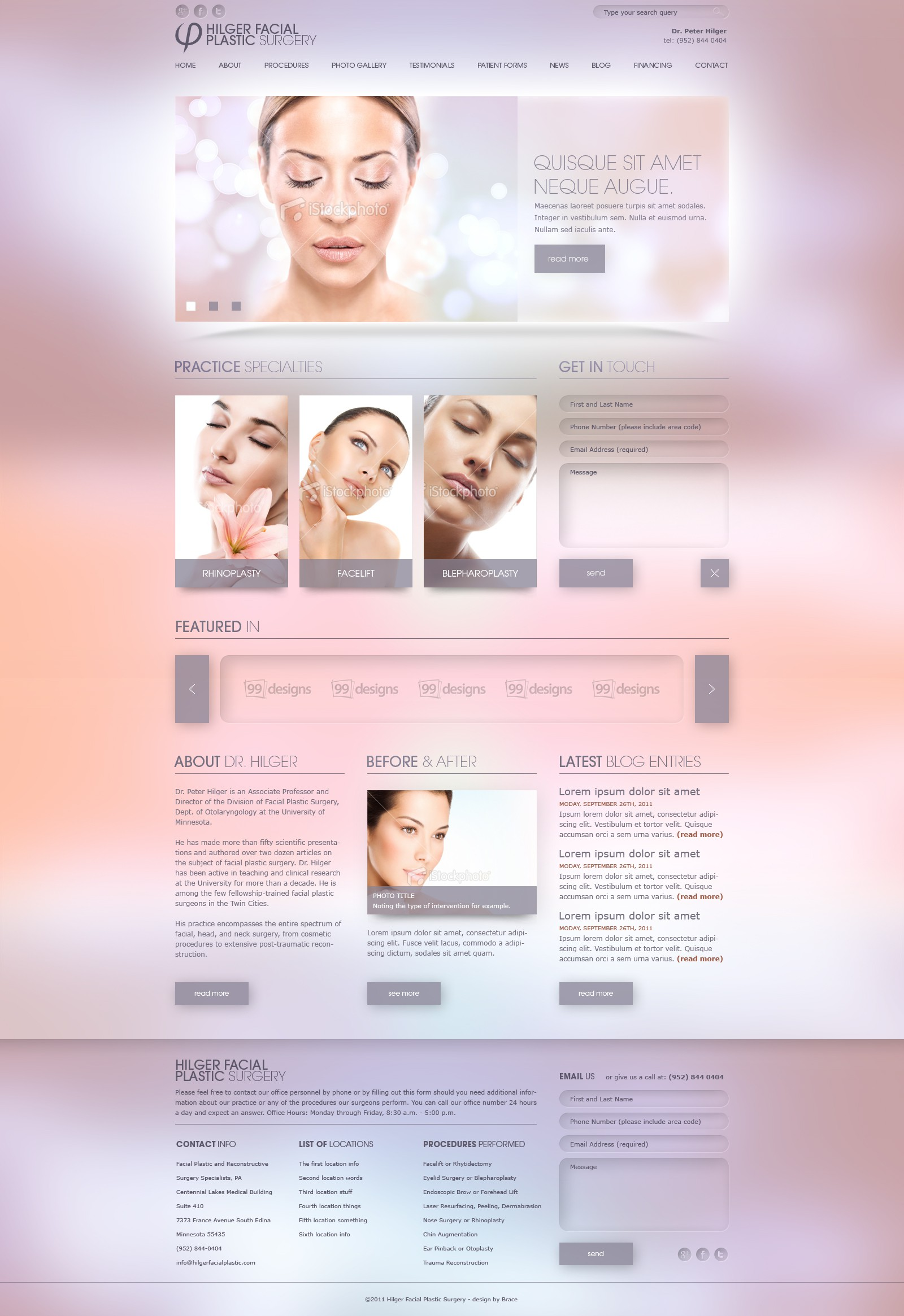 New website design wanted for Hilger Facial Plastic