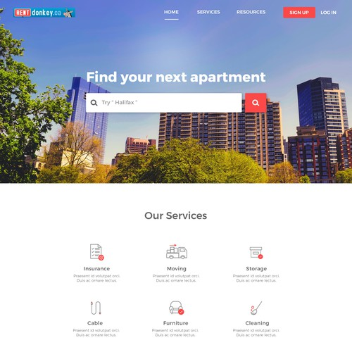 Landing page for Canada based company that helps in finding apartment for rent