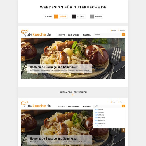 Responsive redesign for a culinary website