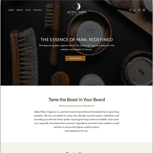 Webdesign for male cosmetic brand