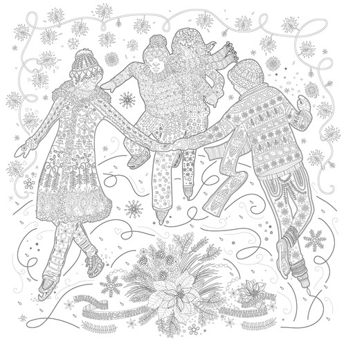 Adult coloring book illustration