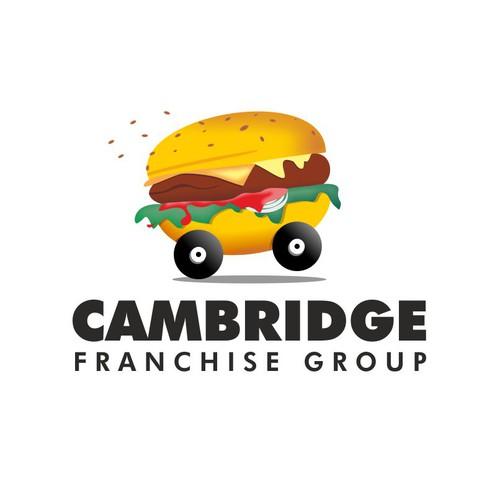 Fun logo for fast-growing company: Hamburger on wheels / Hamburger driving a vehicle