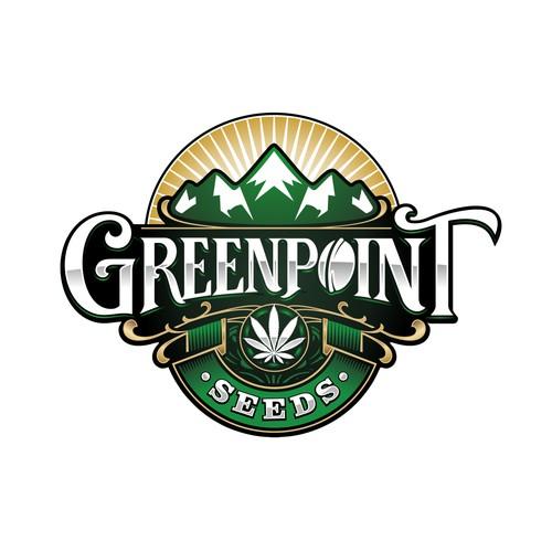 Illustative logo/label design for Greenpoint Seeds
