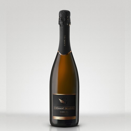 Gabriel Sparkling Wine 02 Logo & label design. Black version.