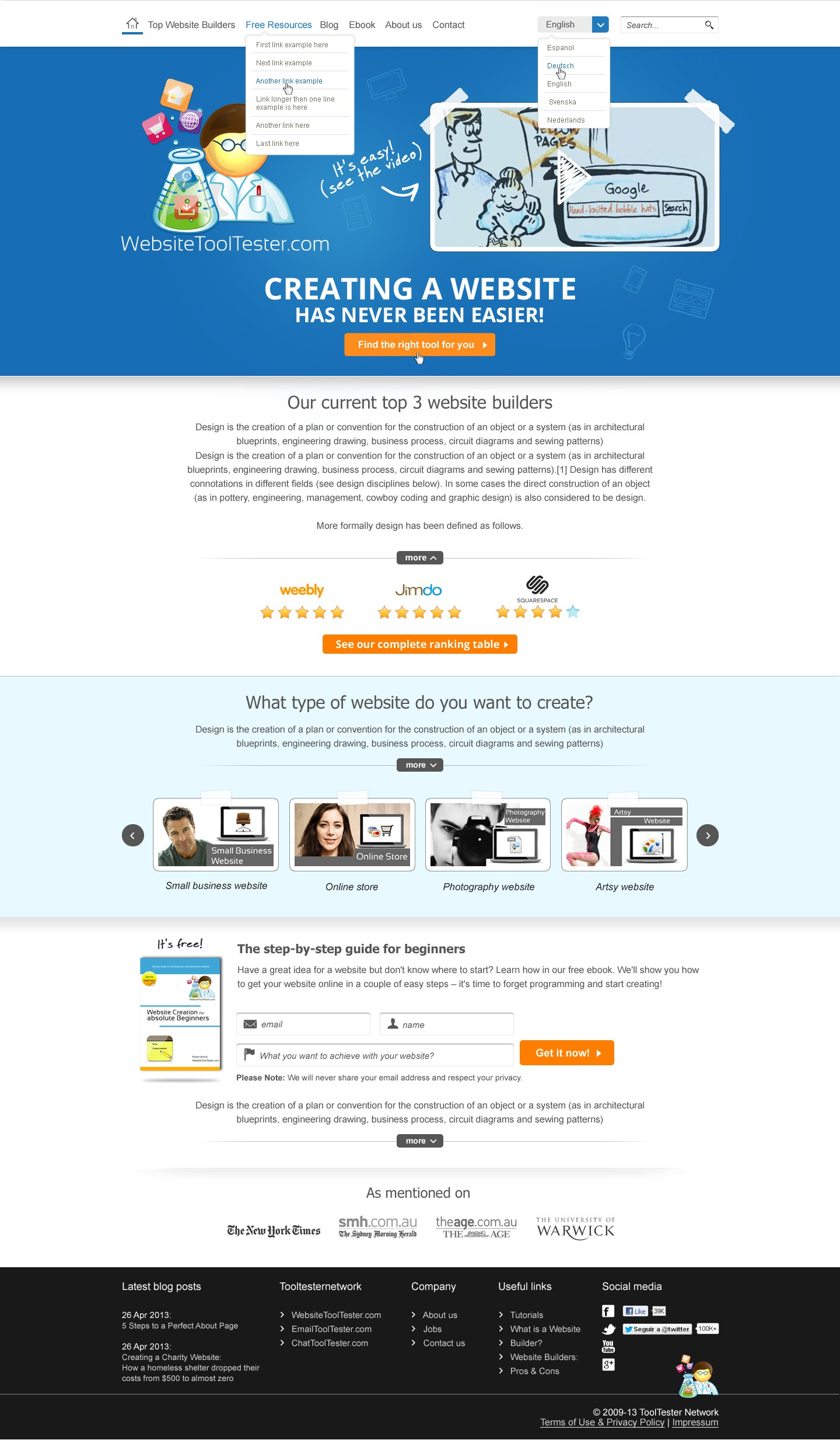 New website design wanted for startup WebsiteToolTester