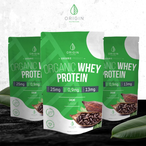 Organic whey protein package design