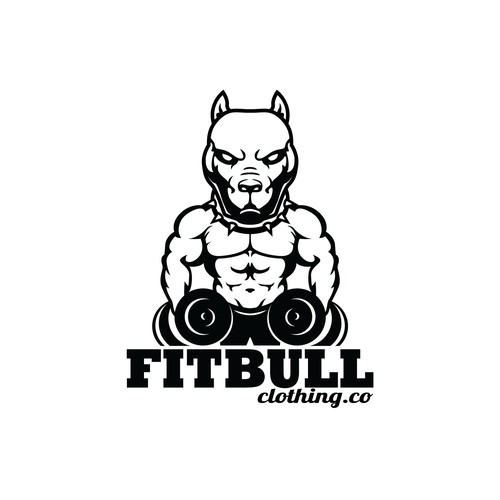 Classic/simple Pitbull head/ upper torso with weightlifting for FitBull Clothing Co.