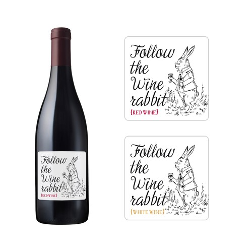 Illustrated wine label