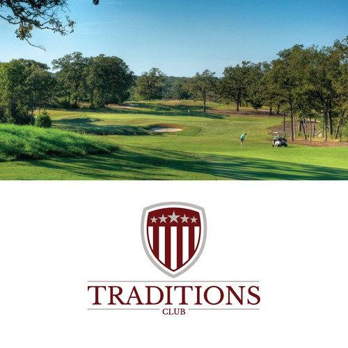 Design a logo for Traditions Club, a golf club with close affiliations to Texas A&M University.