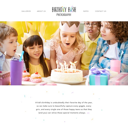 Design for Birthday Photography Site