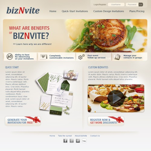 e- Invite site design! Web2.0ish - seeking creativity (PSD Only)
