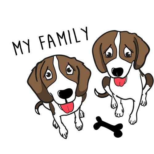 Animal Sketch of Two Adorable Beagles as a Family Logo! (Open for creativity!!)