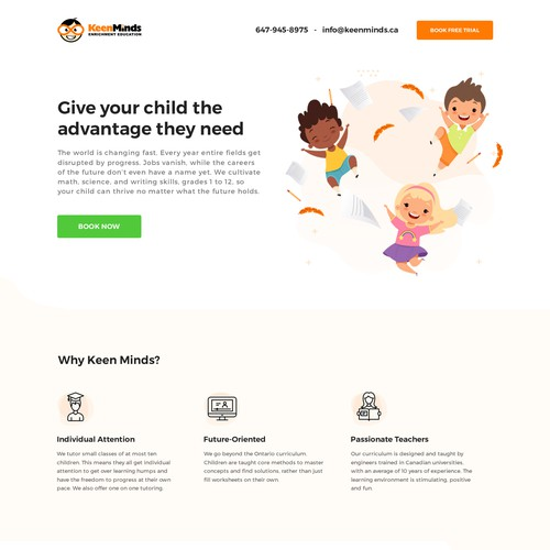 Education Landing Page to Convert Parents!