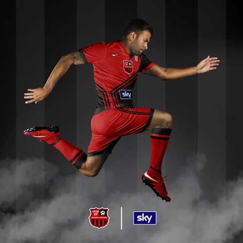 Black and red theme Soccer Jersey