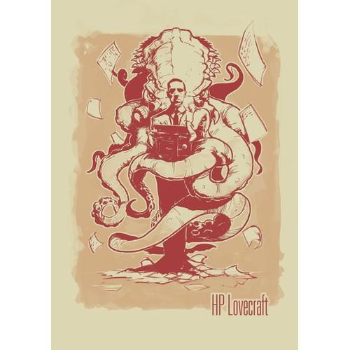 H.P. Lovecraft vintage T-shirt design