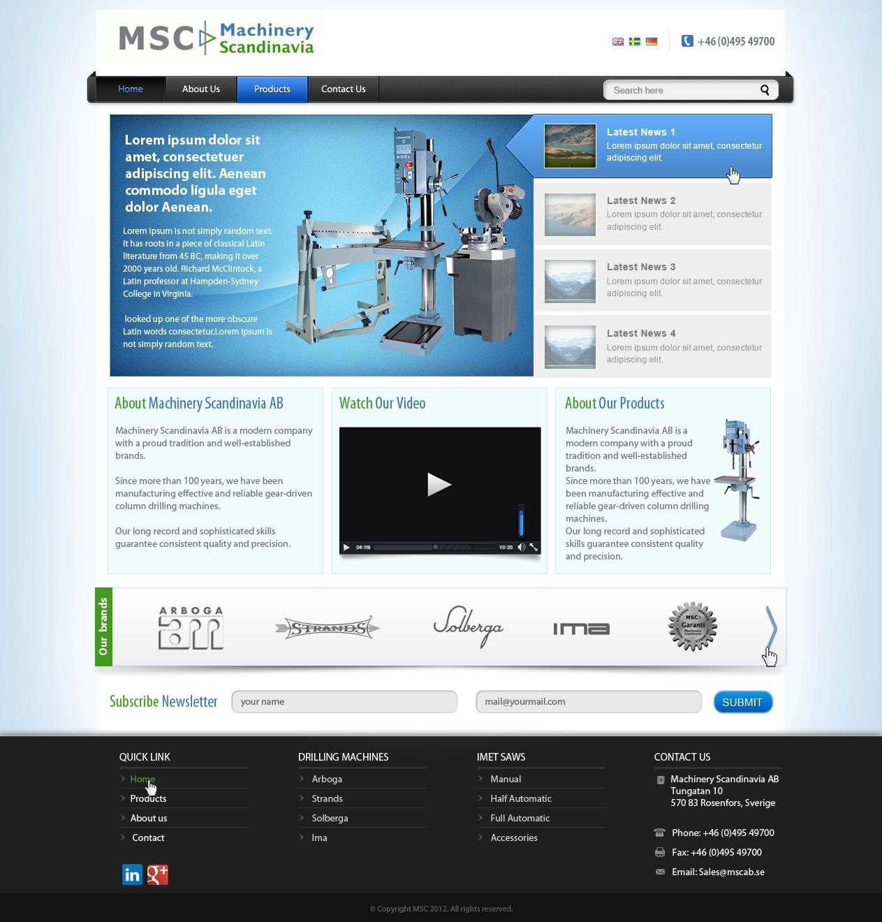 website design for Machinery Scandinavia AB
