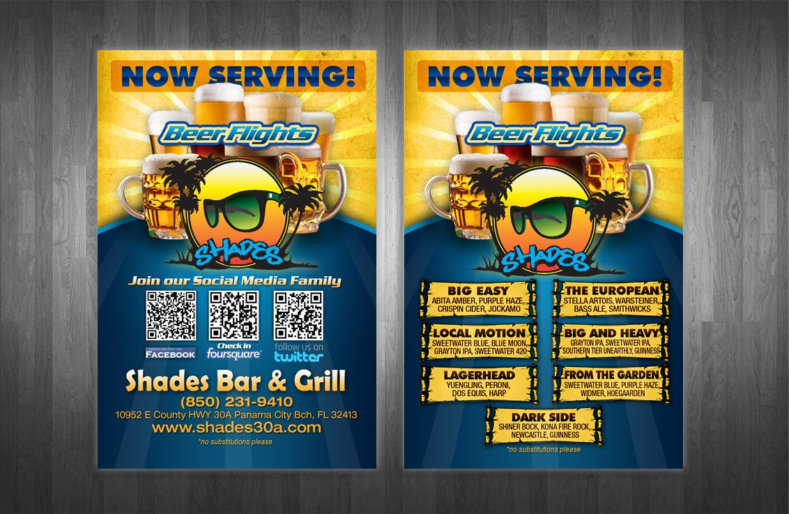 postcard or flyer for Shades Bar and Grill