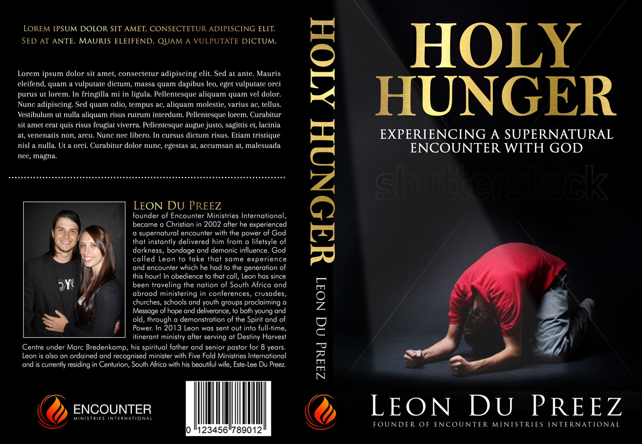 Create a book cover design called HOLY HUNGER - Experiencing a Supernatural Encounter with God