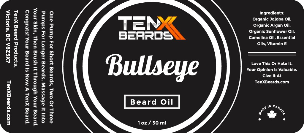 Create a bold and inspiring product label for TenX Beards.