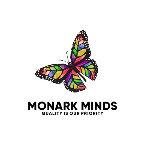 Geometric Butterfly logo concept for Monark Minds