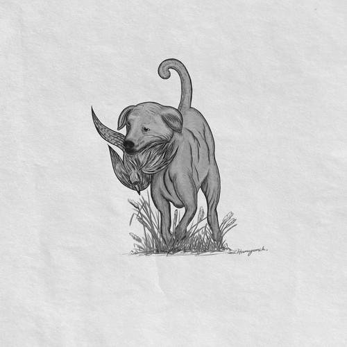 Hunting dog drawing.