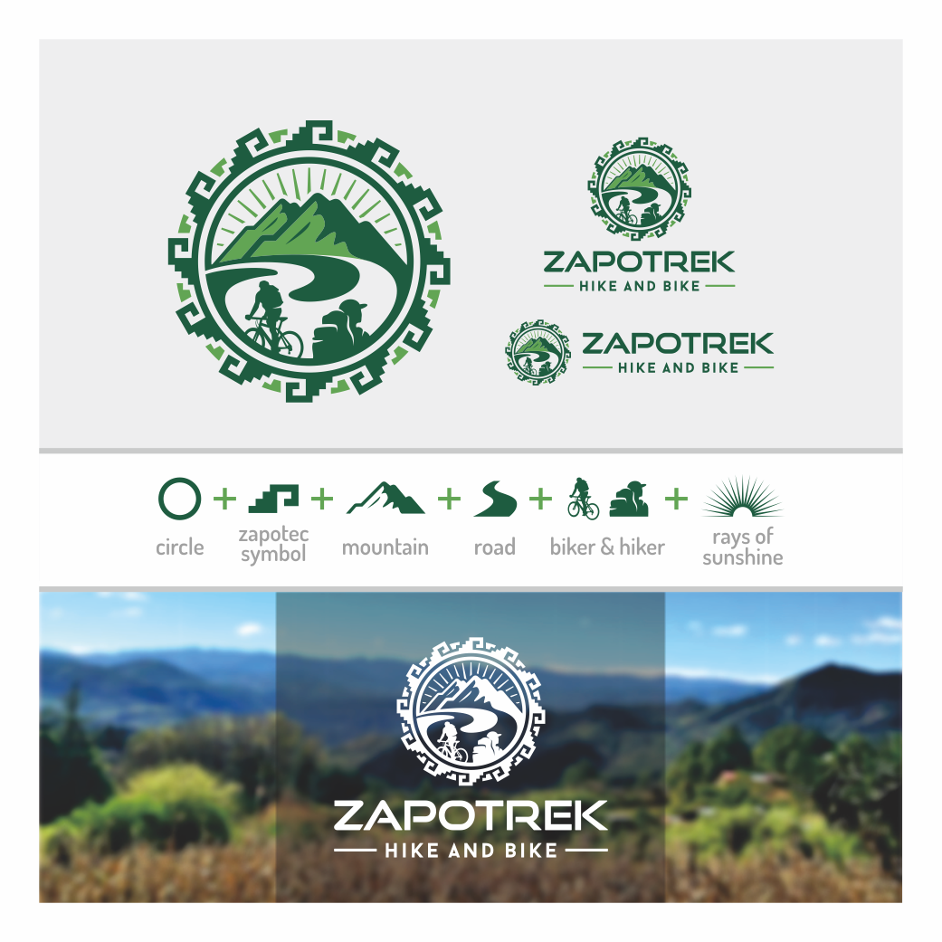 Create a fun logo for ZAPOTREK Hike and Bike, an adventure travel company in Oaxaca, Mexico