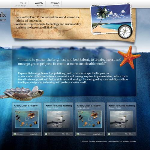 Homepage for an entrepreneur.