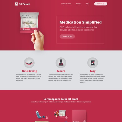 Webpage design for Pillpouch