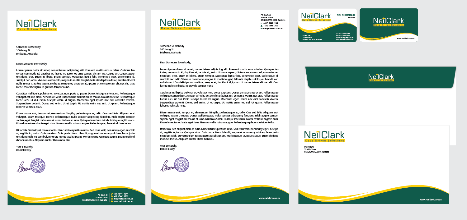 New stationery wanted for NeilClark (no space) Data Driven Solutions (tagline)