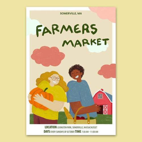 Poster design for Somerville's farmers market